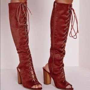 Orange rust lace up boots